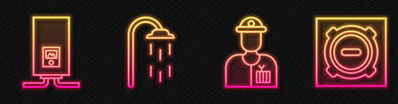 Set line Plumber, Gas boiler with a burning fire, Shower and Manhole sewer cover. Glowing neon icon. Vector Vektorgrafik