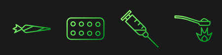 Set line Syringe, Marijuana joint, Pills in blister pack and Heroin in a spoon. Gradient color icons. Vector
