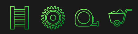 Set line Roulette construction, Wooden staircase, Circular saw blade and Shovel. Gradient color icons. Vector