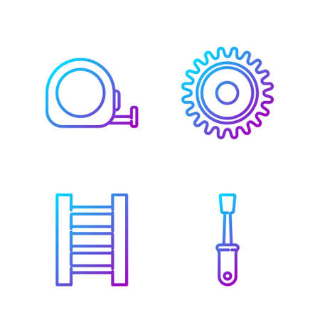 Set line Screwdriver, Wooden staircase, Roulette construction and Circular saw blade. Gradient color icons. Vector 向量圖像