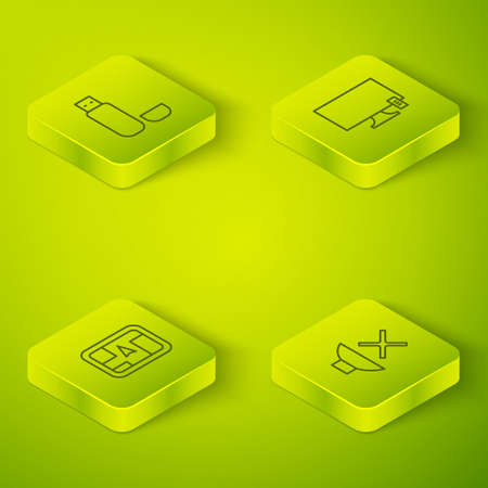 Set Isometric Smart Tv, Gps device with map, Speaker mute and USB flash drive icon. Vector