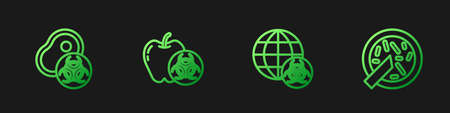 Set line GMO, Genetically modified meat, apple and Petri dish with bacteria. Gradient color icons. Vector