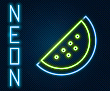 Glowing neon line Casino slot machine with watermelon symbol icon isolated on black background. Gambling games. Colorful outline concept. Vector Illustration