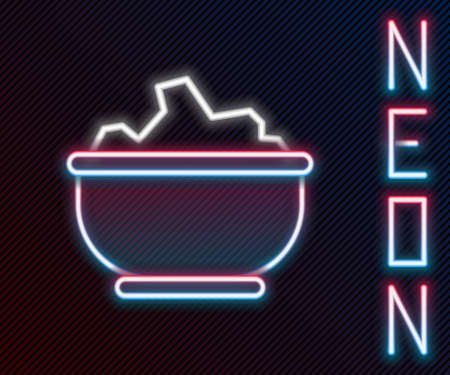 Glowing neon line Sea salt in a bowl icon isolated on black background. Colorful outline concept. Vector Illustration