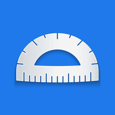 Paper cut Protractor grid for measuring degrees icon isolated on blue background. Tilt angle meter. Measuring tool. Geometric symbol. Paper art style. Vector