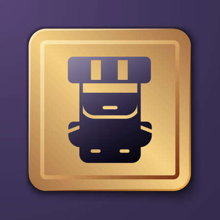 Purple Hiking backpack icon isolated on purple background. Camping and mountain exploring backpack. Gold square button. Vector Vecteurs