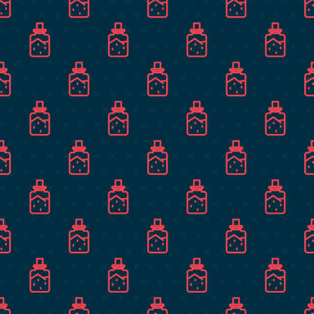 Red line Spa salt icon isolated seamless pattern on black background. Vector Illustration