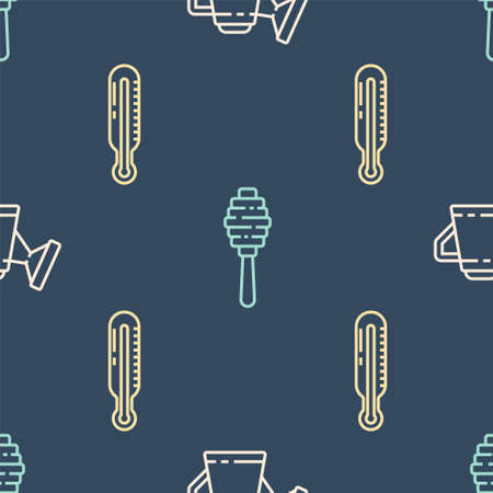 Set line Watering can, Meteorology thermometer and Honey dipper stick on seamless pattern. Vector Illustration