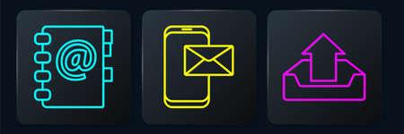 Set line Address book, Upload inbox and Mobile and envelope. Black square button. Vector