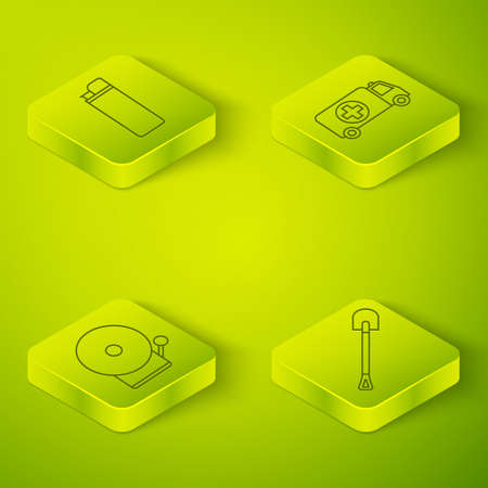 Set Isometric Ambulance and emergency car, Ringing alarm bell, Fire shovel and Lighter icon. Vector