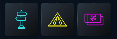 Set line Road traffic sign, Airline ticket and Tourist tent. Black square button. Vector