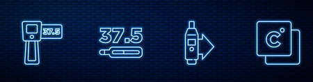 Set line Digital thermometer, , Medical and Celsius. Glowing neon icon on brick wall. Vector
