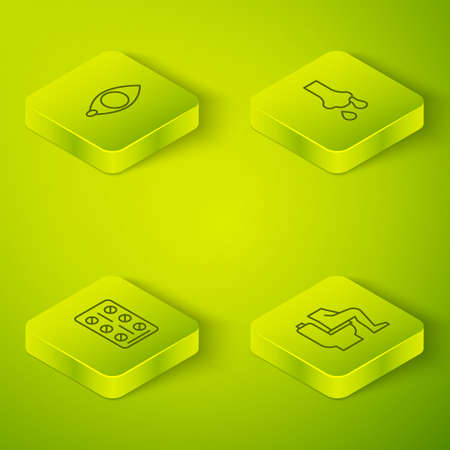 Set Isometric line Runny nose, Pills in blister pack, Constipation and Blindness icon. Vector