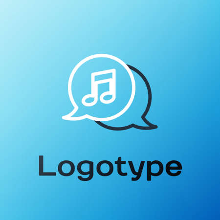 Line Musical note in speech bubble icon isolated on blue background. Music and sound concept. Colorful outline concept. Vector Illustration 矢量图像
