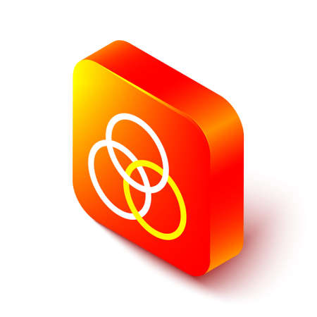 Isometric line RGB and CMYK color mixing icon isolated on white background. Orange square button. Vector Illustration