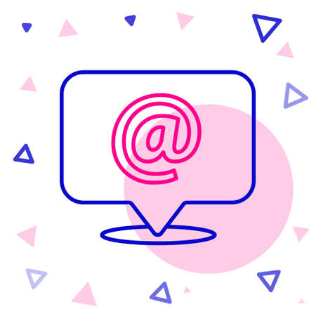 Line Mail and e-mail icon isolated on white background. Envelope symbol e-mail. Email message sign. Colorful outline concept. Vector Illustration