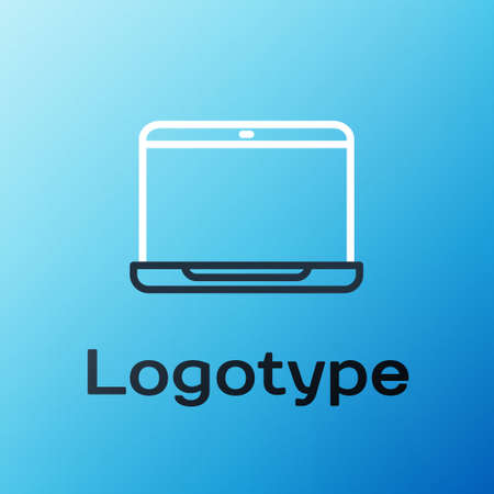 Line Laptop icon isolated on blue background. Computer notebook with empty screen sign. Colorful outline concept. Vector Illustration