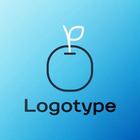 Line Apple icon isolated on blue background. Fruit with leaf symbol. Colorful outline concept. Vector Illustration Çizim