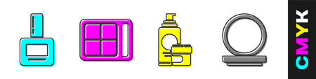 Set Nail polish bottle, Eye shadow palette, Cream or lotion cosmetic tube and Makeup powder with mirror icon. Vector