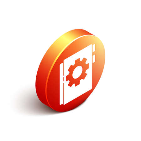 Isometric User manual icon isolated on white background. User guide book. Instruction sign. Read before use. Orange circle button. Vector Illustration