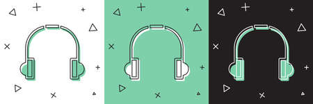 Set Headphones icon isolated on white and green, black background. Earphones. Concept for listening to music, service, communication and operator. Vector Illustration