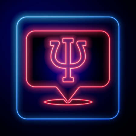 Glowing neon Psychology icon isolated on blue background. Psi symbol. Mental health concept, psychoanalysis analysis and psychotherapy. Vector Ilustrace