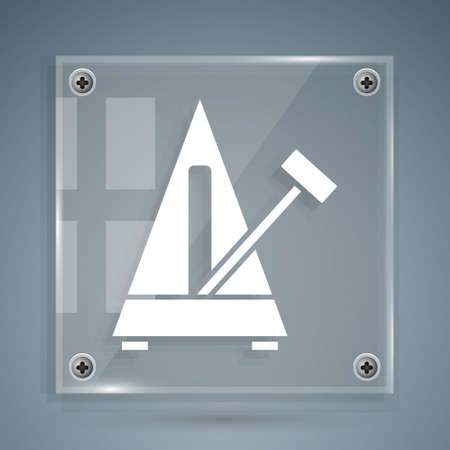 White Classic Metronome with pendulum in motion icon isolated on grey background. Equipment of music and beat mechanism. Square glass panels. Vector 矢量图像