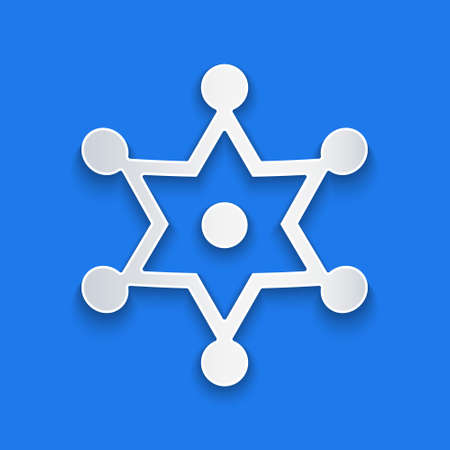 Paper cut Hexagram sheriff icon isolated on blue background. Police badge icon. Paper art style. Vector
