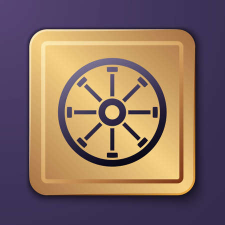 Purple Old wooden wheel icon isolated on purple background. Gold square button. Vector