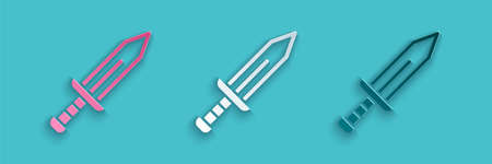 Paper cut Sword icon isolated on blue background. Medieval weapon. Paper art style. Vector