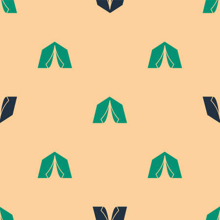 Green and black Tourist tent icon isolated seamless pattern on beige background. Camping symbol. Vector