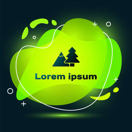 Black Mountains with tree icon isolated on black background. Symbol of victory or success concept. Abstract banner with liquid shapes. Vector