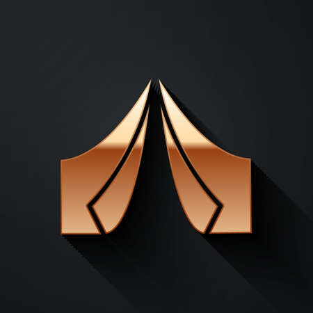 Gold Tourist tent icon isolated on black background. Camping symbol. Long shadow style. Vector