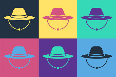 Pop art Camping hat icon isolated on color background. Beach hat. Explorer travelers hat for hunting, hiking, tourism. Vector