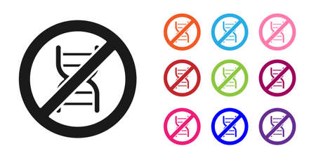 Black Stop GMO icon isolated on white background. Genetically modified organism acronym. Dna food modification. Set icons colorful. Vector