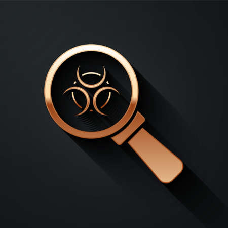 Gold Biohazard and magnifying glass icon isolated on black background. Long shadow style. Vector