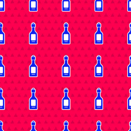 Blue Champagne bottle icon isolated seamless pattern on red background. Vector