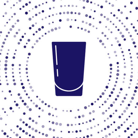 Blue Glass with water icon isolated on white background. Soda glass. Abstract circle random dots. Vector