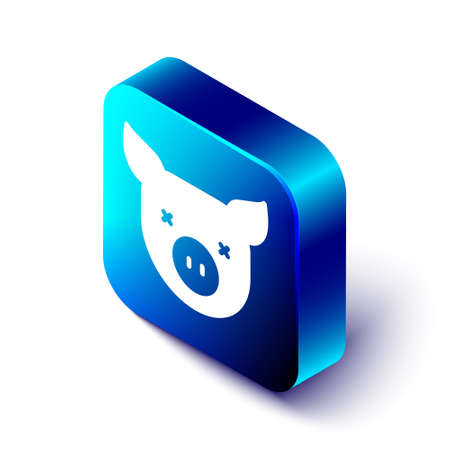 Isometric Pig icon isolated on white background. Animal symbol. Blue square button. Vector