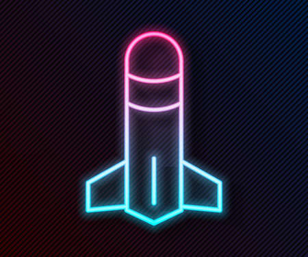 Glowing neon line Rocket icon isolated on black background. Vector