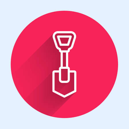 White line Shovel icon isolated with long shadow. Gardening tool. Tool for horticulture, agriculture, farming. Red circle button. Vector Çizim