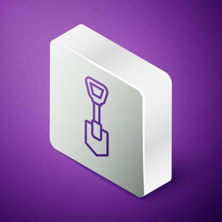 Isometric line Shovel icon isolated on purple background. Gardening tool. Tool for horticulture, agriculture, farming. Silver square button. Vector Çizim