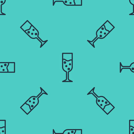 Black line Glass of champagne icon isolated seamless pattern on green background. Vector