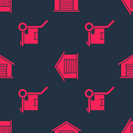 Set Hand truck and boxes and Warehouse on seamless pattern. Vector Çizim