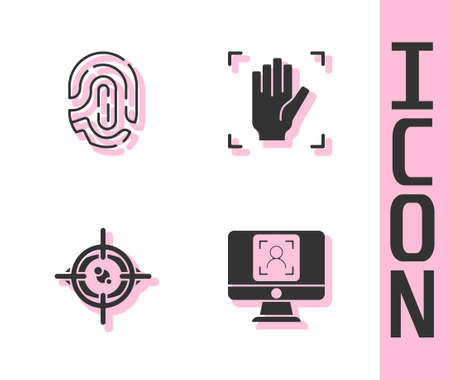 Set Face recognition, Fingerprint, Eye scan and Palm icon. Vector