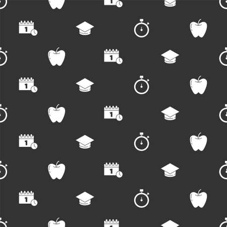 Set Stopwatch, Apple, Calendar first date and Graduation cap on seamless pattern. Vector