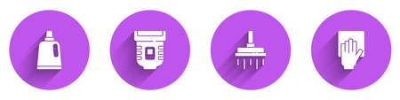 Set Bottle for cleaning agent, Epilator, Shower head and Cleaning service icon with long shadow. Vector