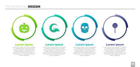 Set Pumpkin, Moon and stars, Skull and Lollipop. Business infographic template. Vector Stock Illustratie