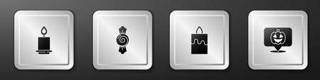 Set Burning candle, Candy, and Pumpkin icon. Silver square button. Vector