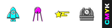 Set Rocket ship, Satellite, Falling star and Astronomical observatory icon. Vector